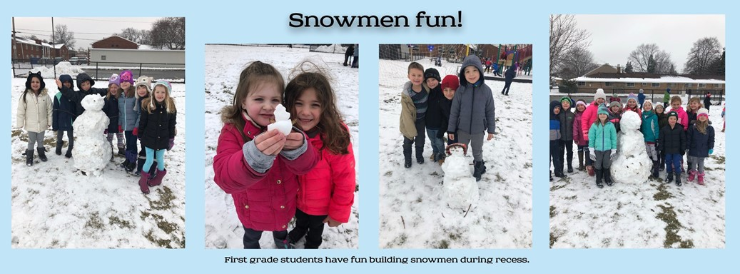 First graders build snowmen on recess