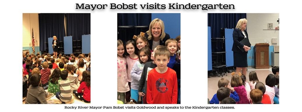 Rocky River Mayor Pam Bobst talks to Kindergarten students