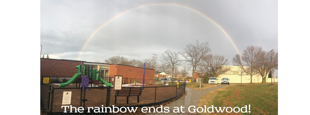 A rainbow appears over Goldwood in February