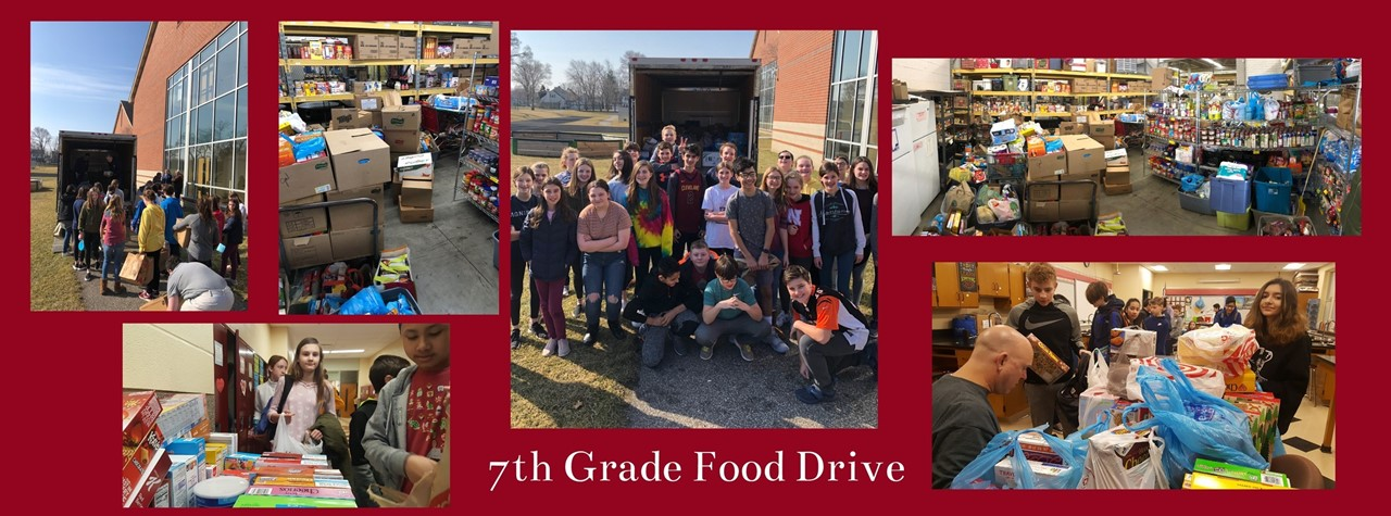 7th grade students collect food for drive