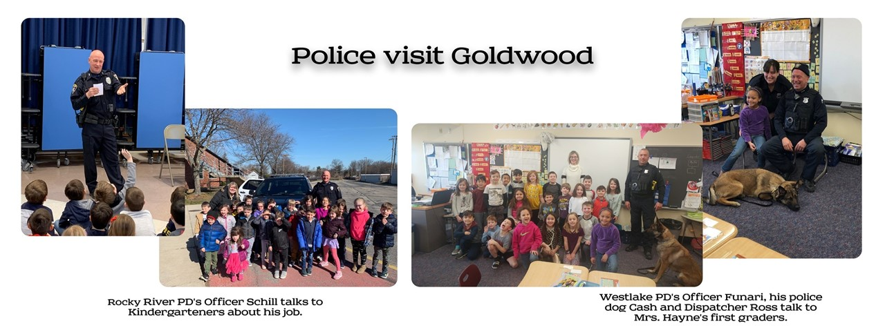 Rocky River and Westlake police officers visit Goldwood Kindergarteners and First Graders
