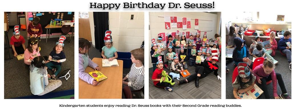 Kindergarten students enjoy Dr. Seuss books with their Second grade reading buddies