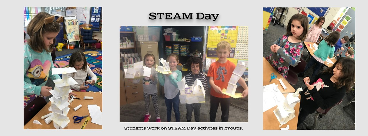 Students work on STEAM Day activities in groups