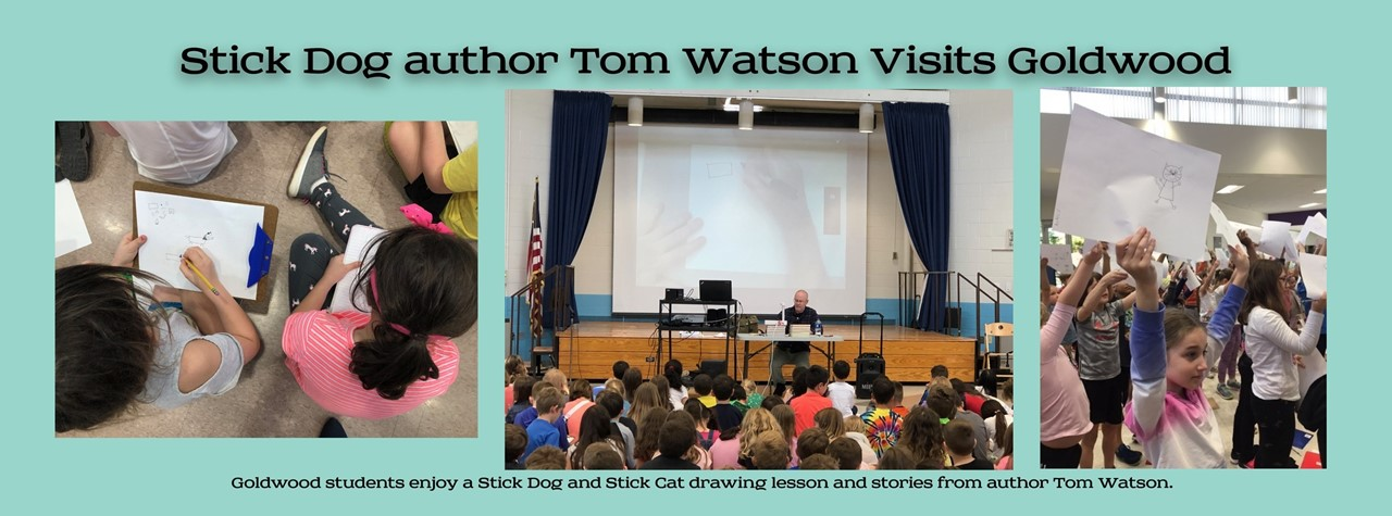 Goldwood students enjoy drawing lessons and stories from Tom Watson