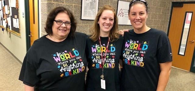 teachers wearing kindness shirts