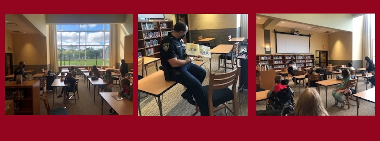 SRO Camp Reading a Story in the Media Center