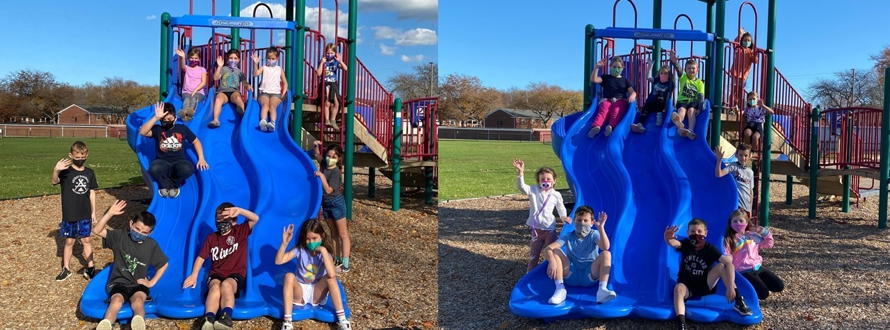 Mrs. Fiorillo's students get outside to enjoy the warm temperature.