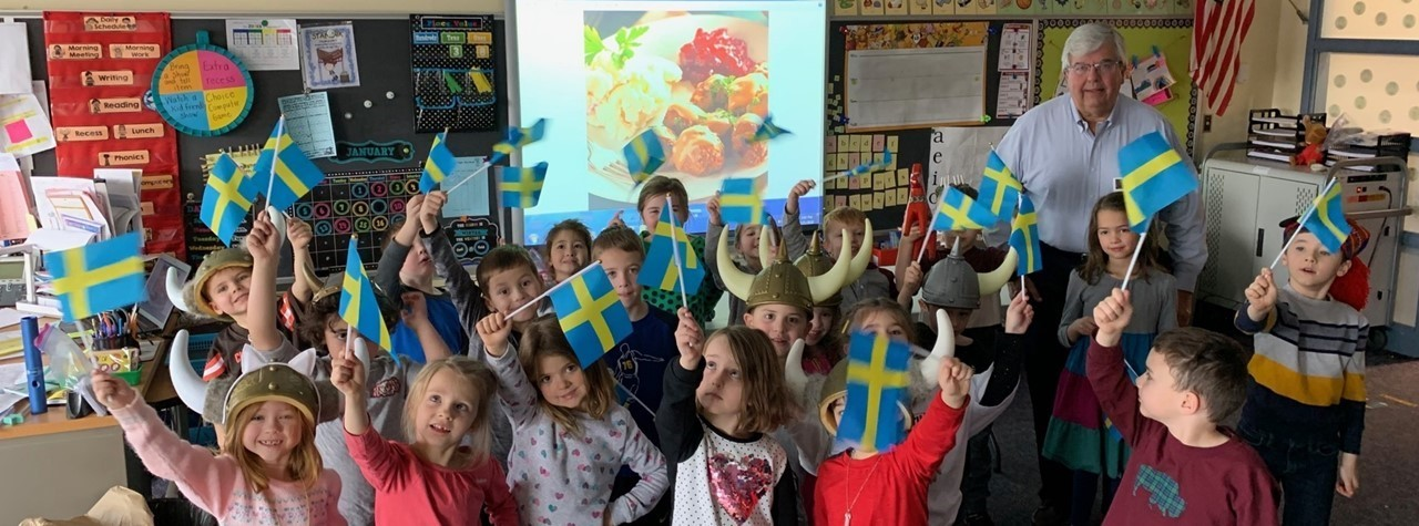 Students enjoy presentations about different countries during Heritage Week.
