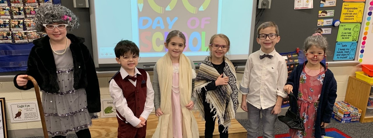 Kindergarten students dress up for the 100th day of school
